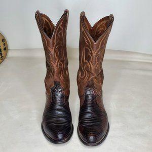Tony Lama Lizard Western Cowboy Boots 9EE EUC